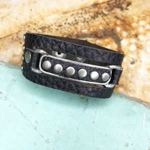 LEATHEROCK Silver Stud Black Leather Cuff Bracelet